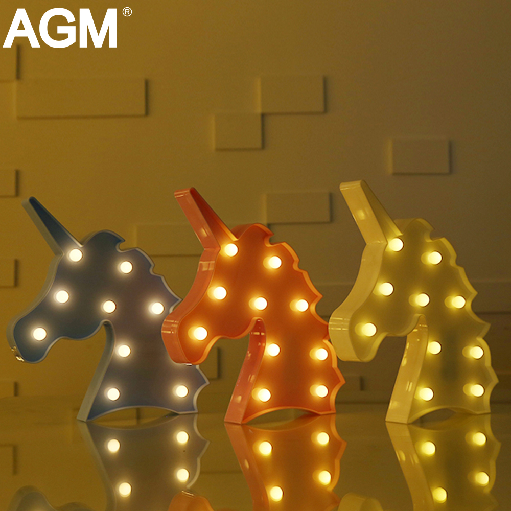 agm led night light unicorn head shape wall lamp novelty luminaria 3d nightlight animal marquee letter lights for children decor - Marquee Letter Lights