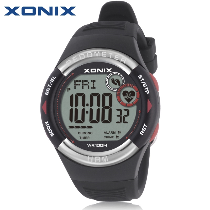 XONIX Pedometer Heart <font><b>Rate</b></font> Monitor Calories BMI Men Sports Watches Waterproof 100m Women Digital Watch Running Diving Wristwatch