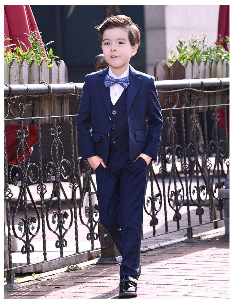 Krawatte Hemd Formale Big Jungen Anzüge Für Hochzeiten England Stil Mann Kind Blau/schwarz Party Smoking Jungen Formelle Anzüge Blazer Hosen
