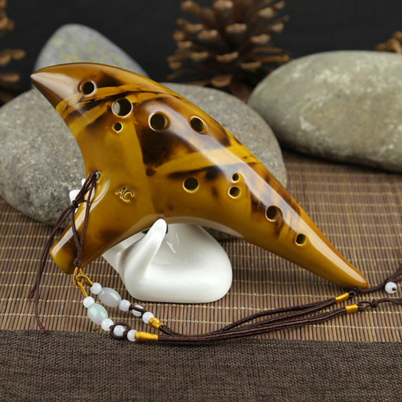 Купить с кэшбэком 12 Hole Legend Zelda Ocarina of Time Alto C Smoldering Ceramic Flute Ocarina Hot