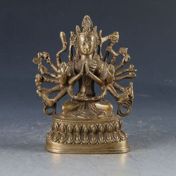 Коллекционная китайская латунная резная тибетская статуя Будды Бодхисаттва