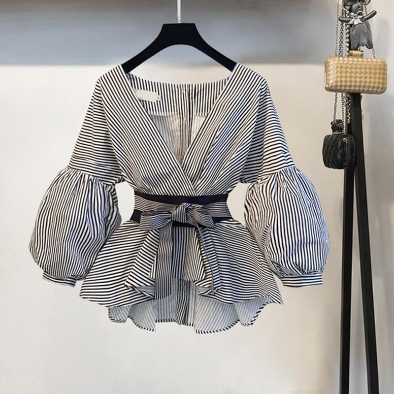 Lantern Sleeve Blouse Shirt Women 2020 Fashion Korean Style Summer Bow V neck Striped Shirt Elegant Ladies Tops Female Clothing|Blouses & Shirts| - AliExpress