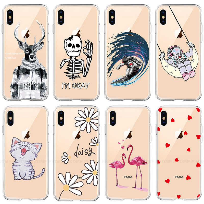 Cartoon Kat Bloem Hart Telefoon Case Voor IPhone 7 8 X XR XS Max Soft TPU Cover Voor IPhone 6 6S 7 8 Plus 5 S Duidelijk Patroon Case