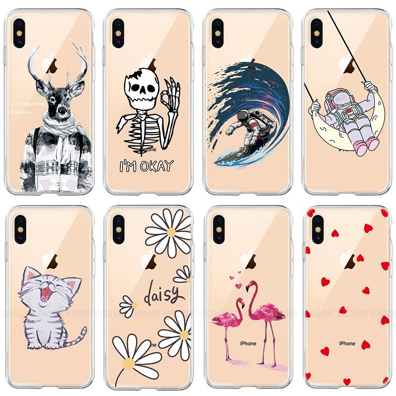 Cartoon Cat Flower Heart Phone Case For Iphone 7 8 X Xr Xs Max