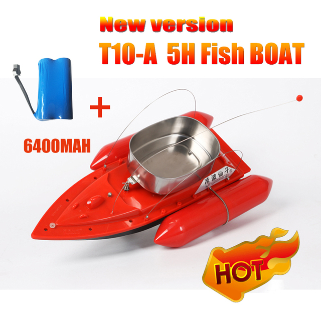 2016 Newest T10-A upgrade version 5 hours/6400MAH Remote Control Bait Fishing Boat / rc fish boat lure boat/  Anti  Wind 1200G