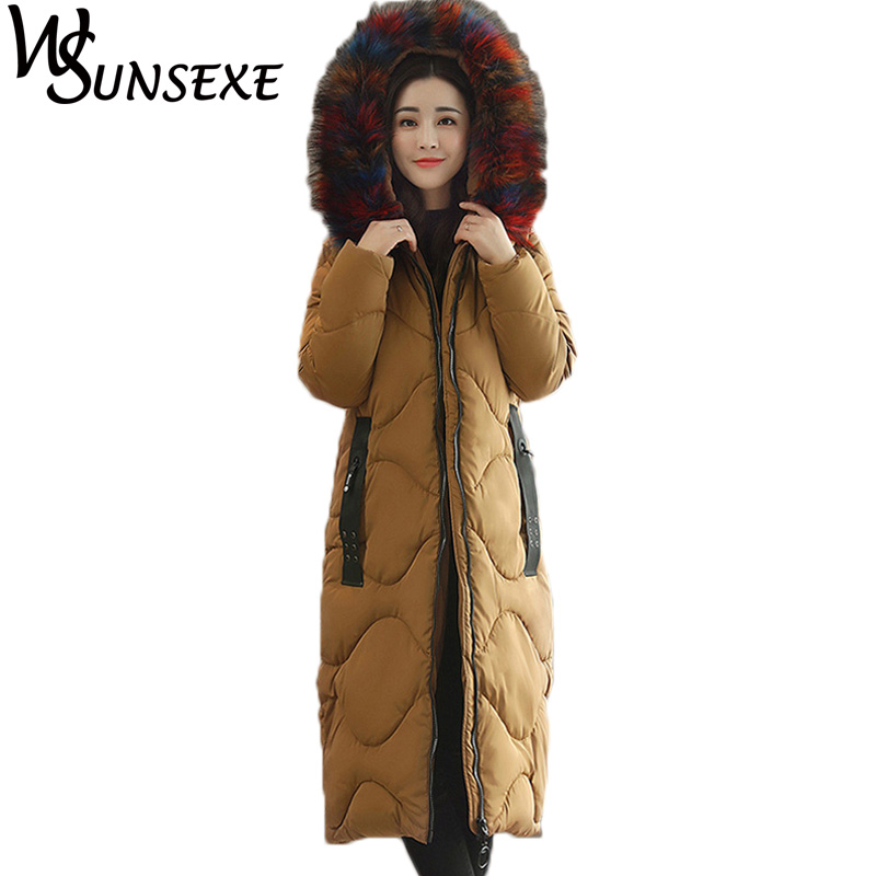 2017 Winter New Faux Fur Collar Coat Women Long Parka Warm Down Cotton Thicken Hooded Outwear Jackets Female Casual Coats Parkas new winter light down cotton coat women long design hooded jackets casual slim warm jacket coats parkas female outwear qh0454