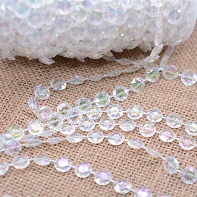 99FT/30M ABcolorful Acrylic Crystal Beads Curtains DIY Window Door Curtain  Party Wedding Passage Backdrop