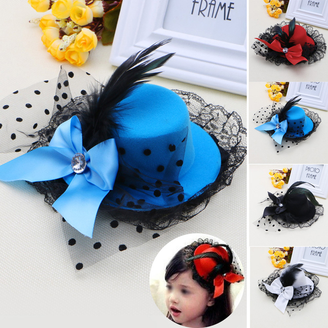 Women girl Bow Hair Clip Lace Feather Mini Top Hat Fascinator Fancy Party e2668803212
