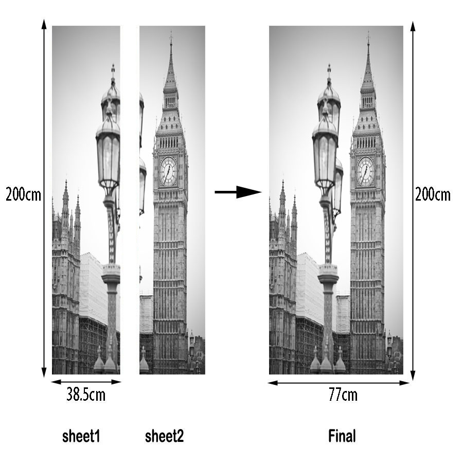 Image 2 - Black White Old Photo PVC Removable 3D City Vintage Scenic Fridge Sticker Wall Door Stickers Street Lamp Big Ben Clock Pattern-in Door Stickers from Home & Garden