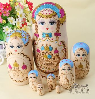 Professional doll shop smell of formaldehyde-free imports authentic hand carved linden wood matryoshka 8 floors imported toys Xi