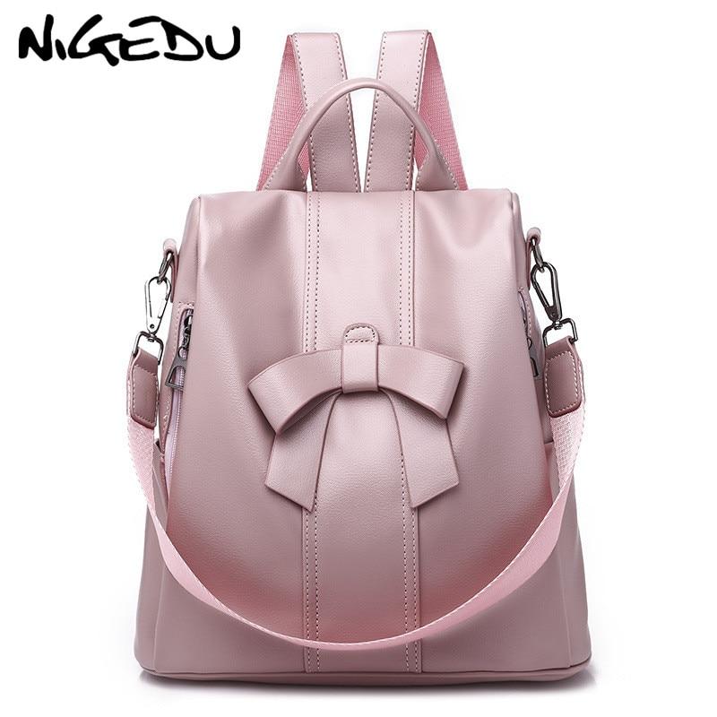 Cute Pink Bow Women Backpack Pu Leather Antitheft Backpack For Teenage Girls Rucksack Female Shoulder School Bags Travel Mochila