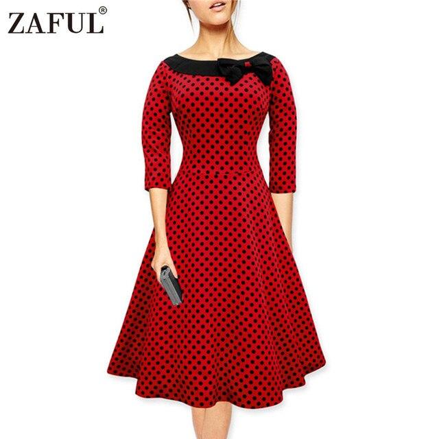 ZAFUL Марка плюс размер Новое Лето Женщины Dress Vintage Robe Хепберн feminino Рокабилли Ретро red dot Бальные Платья Короткие Vestidos