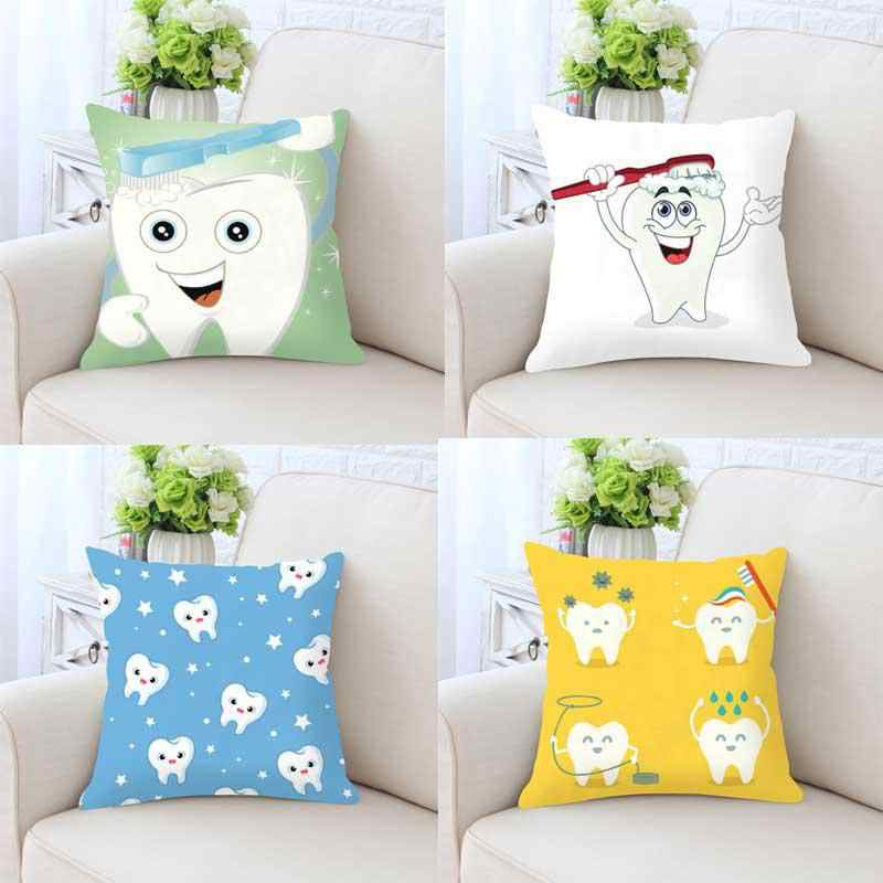 Astonishing Cute Cartoon Teeth Pillow Cleaning Cleaner Care Brush Hygiene Together Happy Tooth White Toothbrush Children Cushion For Home Cjindustries Chair Design For Home Cjindustriesco