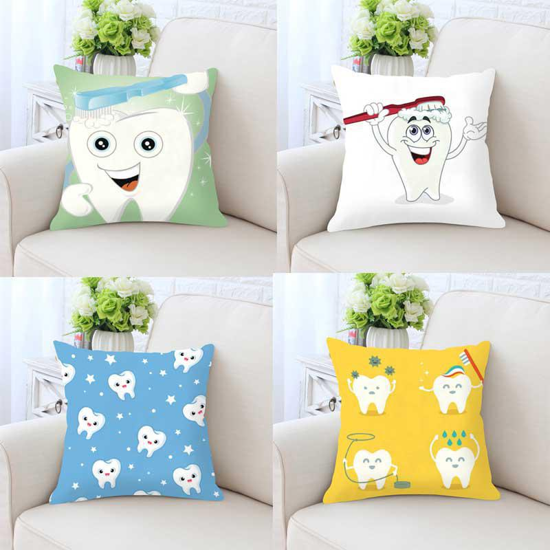 Cute Cartoon Teeth Pillow Cleaning Cleaner Care Brush Hygiene Together Happy Tooth White Toothbrush Children Cushion For Home