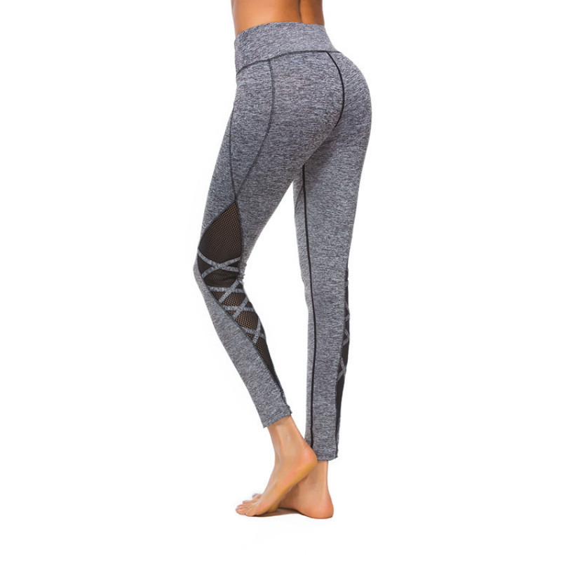 OVESPORT Sexy Mesh Patchwork Yoga Pants High Waist Sport Trousers For Women Fitness Workout Stripe Cross Breathable Leggings