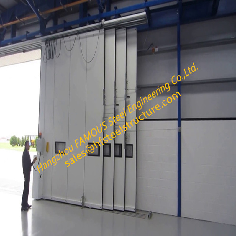 Multi-sector Structural Folded Hinged Hangar Sliding Doors Bottom Rolling Hangar Doors With Smart Track Design