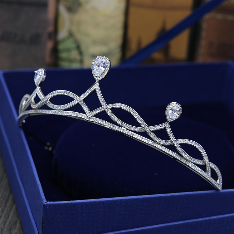 HIBRIDE Women Wedding Hair Accessories Micro CZ Stone Pave Female Statement Jewlery Crown Tiaras C-15