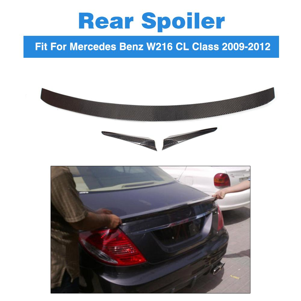 FOR CARBON FIBER MERCEDES BENZ W216 CL-CLASS CL 3-PCS REAR WING TRUNK SPOILER