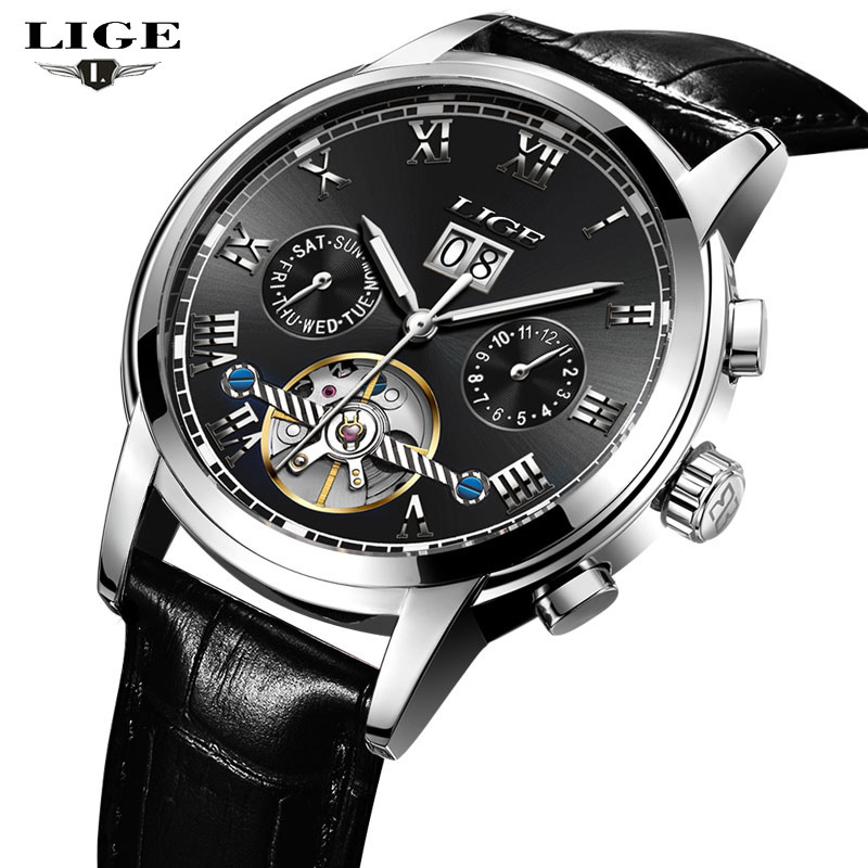 LIGE New Men Watches Top Brand Luxury Men's Mechanical Watch Man Multifunction Waterproof Fashion Sports Clock Relogio Masculino lige new men watches top brand luxury men s fashion sport quartz watch man multifunction date waterproof clock relogio masculino