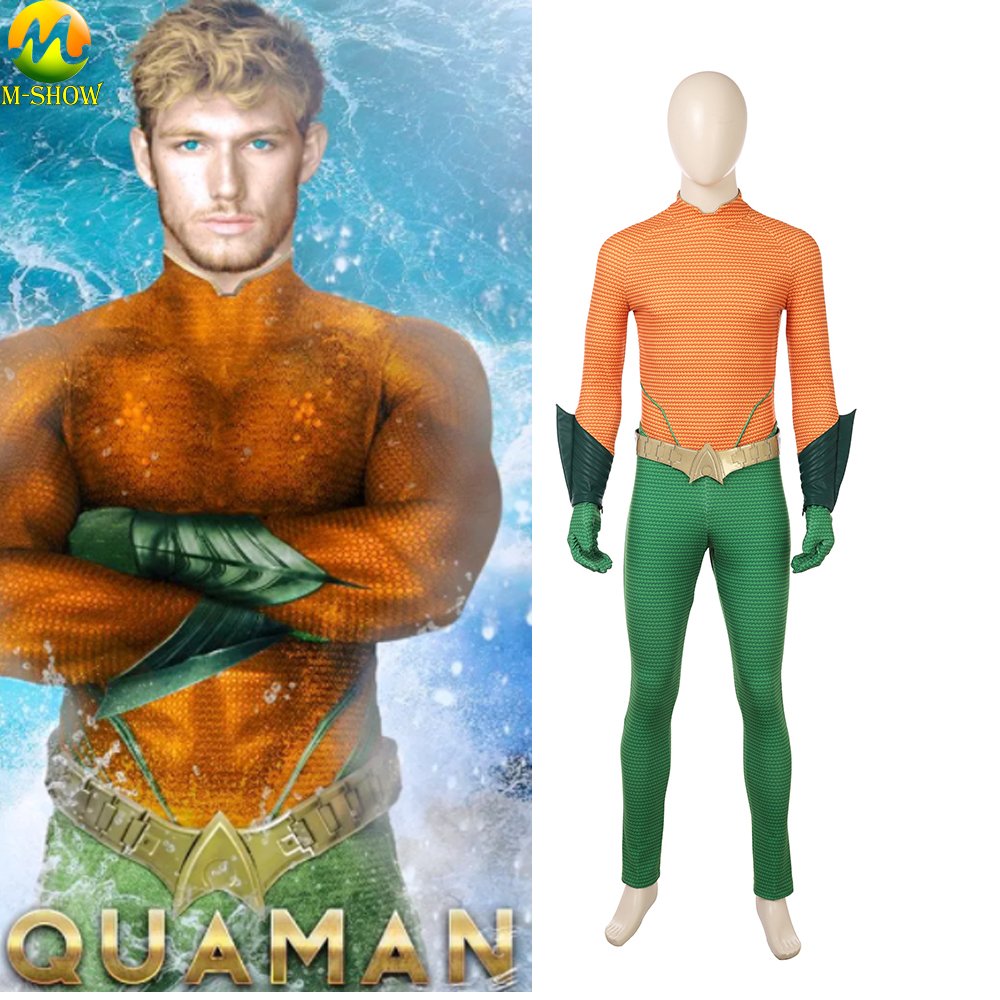 Aquaman Cosplay Costume Adult Men Arthur Curry Orin Cosplay Costume Full Set For Halloween Custom Made