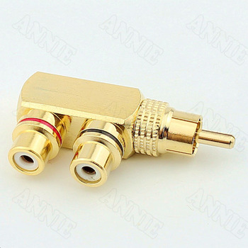 50pcs/lot Pure copper lotus audio video tee one minute two RCA one male 2 female socket AV adapter male to female