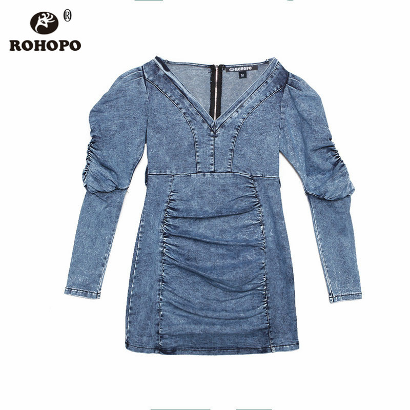 ROHOPO Women Autumn Dnim Bodycon Dress Long Puff Sleeve Patchaork Draped Cotton Vintage Blue Denim Vestido D7628 in Dresses from Women 39 s Clothing