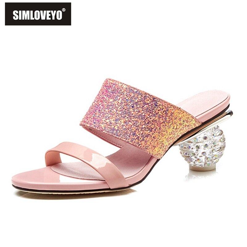 SIMLOVEYO big size 33 42 zomer nieuwe 2019 schoen vrouw klassieke prom muilezels schoenen elegante roze zwarte vrouwen slippers bling comfortabele-in Slippers van Schoenen op  Groep 1
