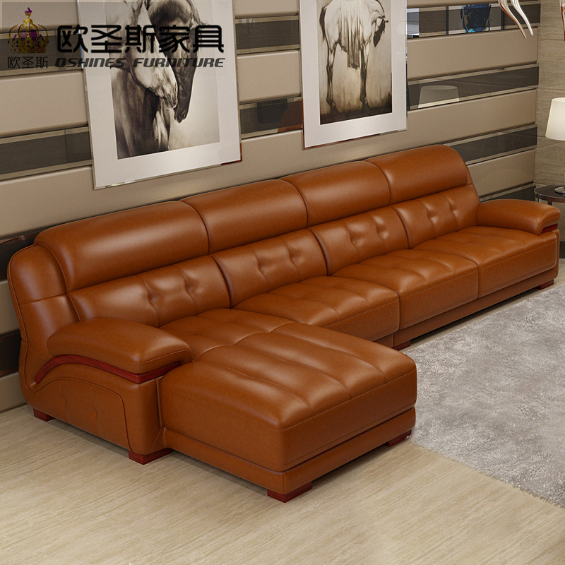 Orange leather sectional sofa sofa chair leather sofa set Living room furniture for sale in dubai