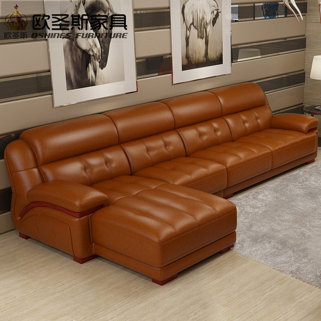 Orange Leather Sectional Sofa Chair Set Dubai Furniture With