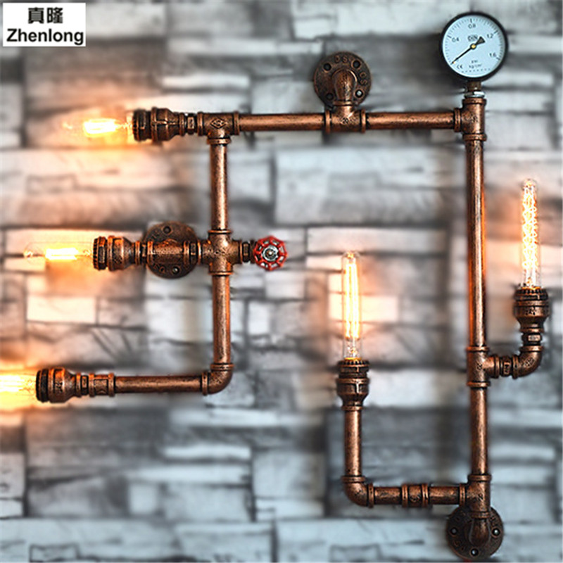 Steam Punk Loft Industrial Iron Rust Water Pipe Retro Wall Lamps 5 Lights E27 LED Sconce Wall Lights for Living Room Bedroom Bar steampunk loft 4 color iron water pipe retro wall lamp vintage e27 e26 sconce lights for living room bedroom restaurant bar