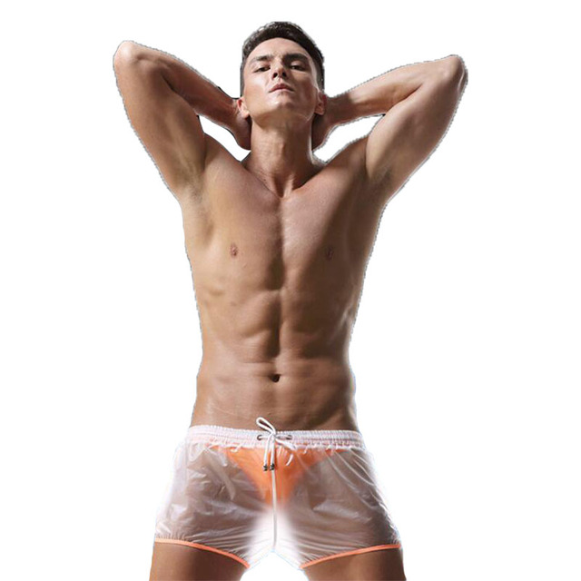 KWAN.Z transparent men's boxer cueca masculina waterproof material boxer homme cuecas light sexy boxershorts men underwear men