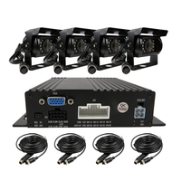 Free Shipping 4 Channel 720P AHD Real Time Recording SD Car Mobile DVR 4 Pcs Night