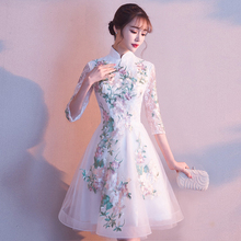 Вечерние вечернее Ципао, платье в Восточном китайском стиле, женское элегантное кружевное платье Qipao, сексуальное платье для свадьбы, выпускного, короткое платье в стиле ретро, Vestido XS-3XL