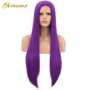 Image 3 - カリスマロングブロンドコスプレかつら絹のようなストレートの合成レースフロントウィッグ女性 10 色ピンク黒グレーで髪