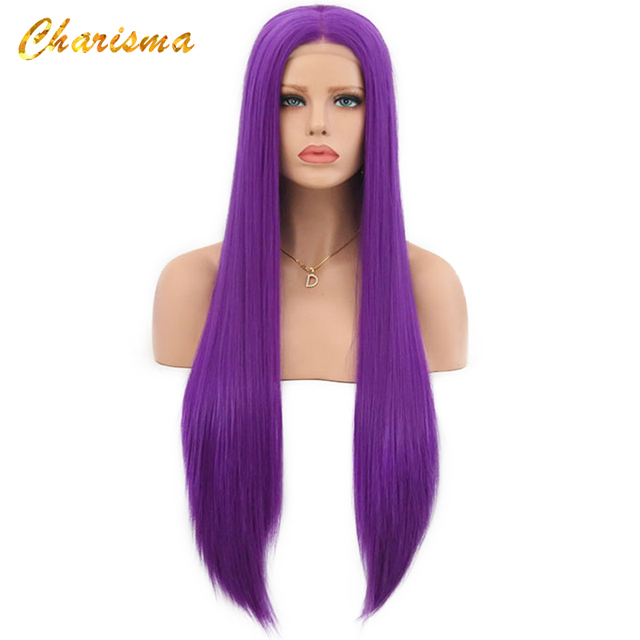 Charyzma długa blond peruka do cosplay Silky prosto syntetyczna koronka przodu peruki dla kobiet 10 kolor różowy czarny szary z dzieckiem włosy