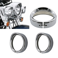 New Motorcycle Chrome 7 Inch Headlight Trim Ring Visor Style Fits for Harley Touring Road King Electra Glide Softail FLD/FLH