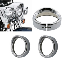 Nueva visera de anillo embellecedora para Faro de 7 pulgadas, cromada, para motocicleta Harley Touring Road King, Softail Electra Glide FLD/FLH