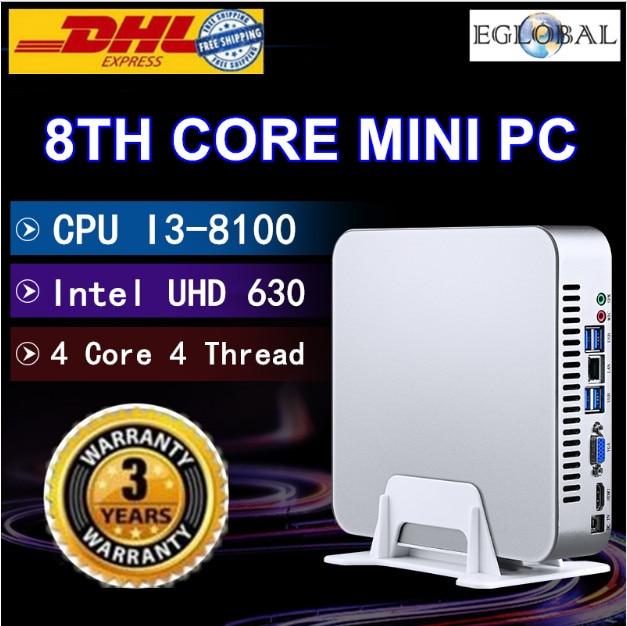 EGLOBAL DDR4 Coffee Lake Mini PC Win10 Intel Core I3 8100 Quad Core 4 Threads 3.6GHz Intel UHD 630 Gaming Computer 4K HDMI WIFI