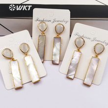 WT E421 Wholesale fashion jewelry natural white stone stud with long bar natural shell pendant trendy style drop earrings