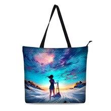 Canvas Shopping Bag Personalized Tote Bags Shoulder Stars Illustrations Design Black Grocery Cotton Handbag