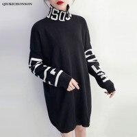 Harajuku Letter Patterns Black Turtleneck Sweater Dress Long Sleeve Autumn Winter Women Casual Streetwear Gothic Knitted Dresses