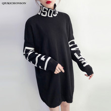 Harajuku Letter Patterns Black Turtleneck Sweater Dress Long Sleeve Autumn Winter Women Casual Streetwear Gothic Knitted Dresses
