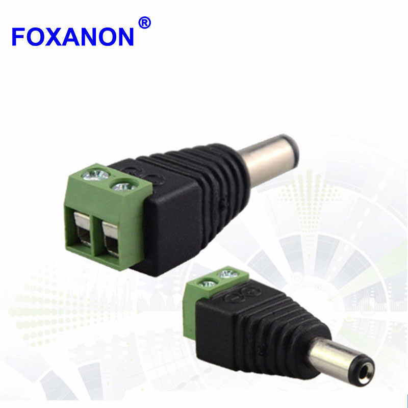 Foxanon Brand DC Power Male connector Plug Jack Adapter Plug voor CCTV DVR 5050 3528 5730 5630 LED Strip Licht en G4 Lamp