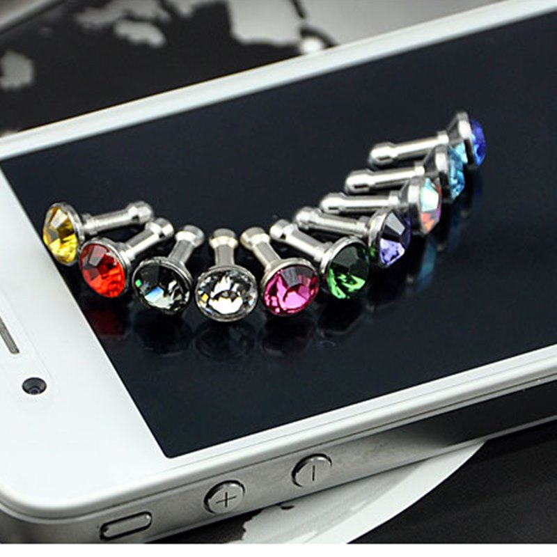 100PCS Universal 3.5mm Diamond Dust Plug Mobile