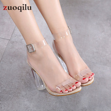 transparent pvc Jelly sandals Open Toed high heels pumps women shoes