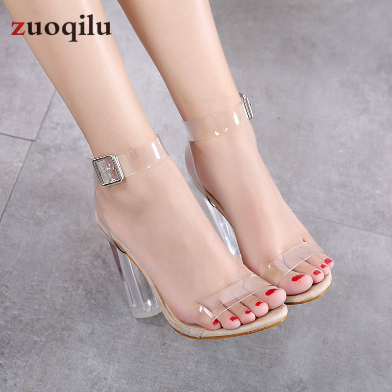 Transparent Pvc Jelly Sandals Open Toed High Heels Pumps Women Shoes Ladies Party Shoes Heels Wedding Shoes Talon Femme
