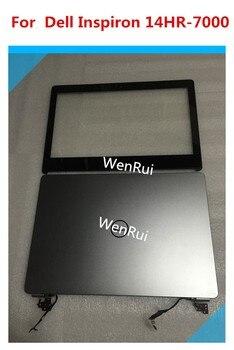 Para Dell Inspiron 14HR-7000 7437 LCD contraportada 47D9P 047D9P & LCD digitalizador táctil de cristal frontal 60.46L12. 003 & bisagras & cable lcd