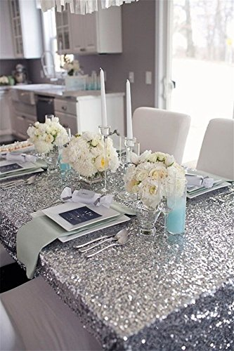 5pcs 90x132inch Silver Rectangle Sequin Table Cloth Embroidered