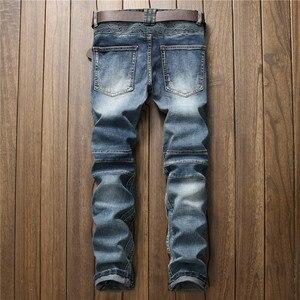 Модные мужские байкерские брюки MORUANCLE, облегающие плиссированные мотоциклетные джинсовые брюки, брендовые дизайнерские прямые брюки на молнии