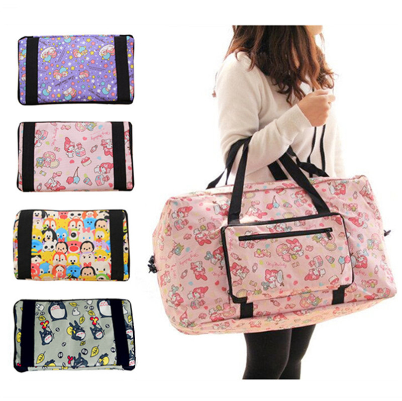 Kawaii Cute Cartoon Little Twin Stars My Melody Foldable Folding Trolley Travel Bag Women Girls Tote Duffle Bags Hand Luggage